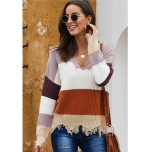 ✨NEW ITEM✨Dusty 🌹 Color Block Distressed Sweater